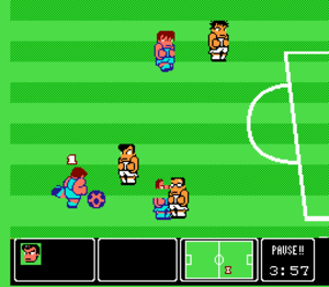 Nintendo World Cup - Gameplay of Nintendo World Cup. The player-controlled U.S.A. team competes against Japan, led by Kunio.
