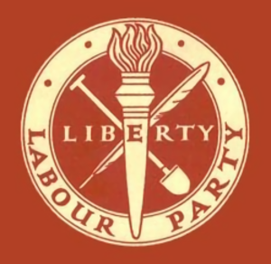 "Red flag (politics) - The original ""Liberty"" logo, in use until 1983"