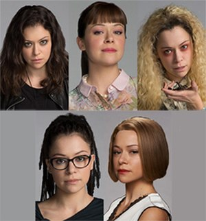 Orphan Black - The five main clone characters all played by Tatiana Maslany (from left to right, top to bottom: Sarah, Alison, Helena, Cosima, and Rachel).