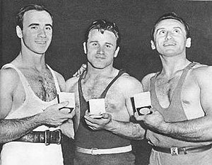 Fyodor Bogdanovsky - Pete George (left) and Fyodor Bogdanovsky (center) at the 1956 Olympics