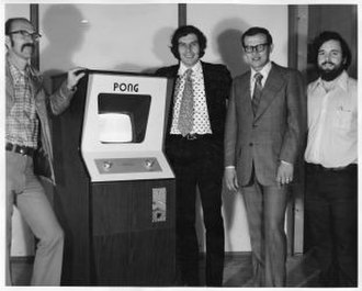 Ted Dabney - Ted Dabney (left) in 1972 with a Pong arcade cabinet and fellow Atari employees Nolan Bushnell, Fred Marincic and Allan Alcorn