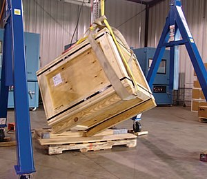 Wooden box - Performance testing a wood shipping container: Rotational corner drop test,  ASTM D6179
