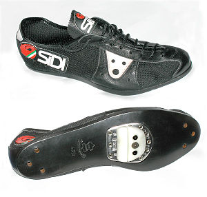 Cycling shoe - 1980s cycling shoe with leather and nylon mesh uppers, leather sole, and adjustable shoeplate, for use with quill pedals