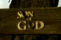 "A computer-generated image of a horizontal plank of wood on a tree with the words ""SON OF GOD"" embossed on it in a golden illuminated script."