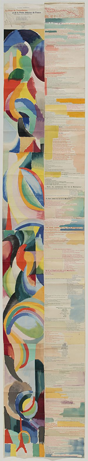 La prose du Transsibérien et de la Petite Jehanne de France - Sonia Delaunay, Blaise Cendrars, 1913, La Prose du Transsibérien et de la petite Jehanne de France, illustrated book with watercolor applied through pochoir and relief print on paper, 200 x 35.6 cm, Princeton University Art Museum