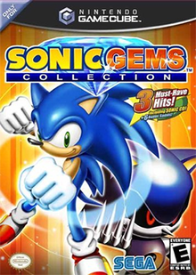 The North American GameCube cover art of Sonic Gems Collection. Sonic, a cartoonish blue hedgehog, does a fist bump-like gesture to the viewer, while Metal Sonic beckons. The game's logo is seen atop the two; the Nintendo Seal of Quality, Sega logo, and ESRB rating of E are shown from left to right across the bottom of the box.