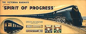 Spirit of Progress - Victorian Railways promotional poster advertising the new Spirit of Progress service