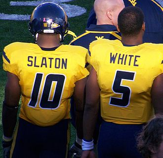 Pat White (gridiron football) - Steve Slaton (left) and White on the sideline of the Mississippi State game.
