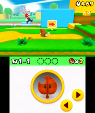 Super Mario 3D Land - Mario jumping in World 1-1. The player's extra lives and reserved power-up can be viewed and accessed from the touchscreen.