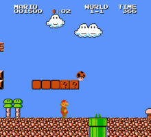 Mario, viewed in profile, faces to the right of the screen, with question mark boxes and a dark mushroom floating overhead and a green pipe in the ground nearby. The screen is mostly blue sky.