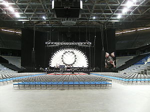 The stage design before a show.
