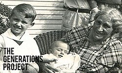 A black-and-white photograph of a family with the words 'The Generations Project' above