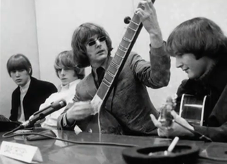 "Raga rock - The Byrds hosting their ""raga rock"" press conference for the release of ""Eight Miles High"" in March 1966"