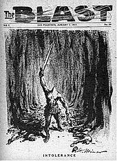 "A magazine cover with the caption ""Intolerance"" shows a headless giant with a sword in one hand and a severed human head in the other"
