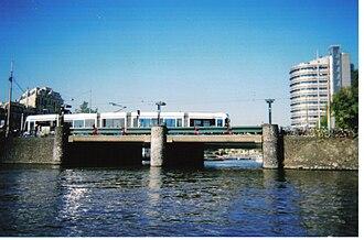 Transport in Amsterdam - Light tram in central Amsterdam