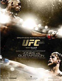 A poster or logo for UFC 165: Jones vs. Gustafsson.