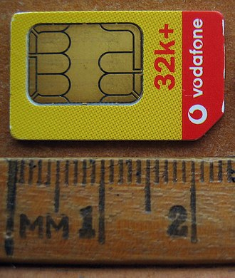Universal integrated circuit card - A 25 × 15 mm Vodafone New Zealand SIM card.