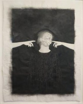 Lesley Dill - Voices in My Head, 1997, charcoal and thread on a gelatin silver print, Honolulu Museum of Art