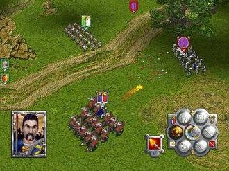 Warhammer: Dark Omen - The player's cavalry charging Goblin archers.