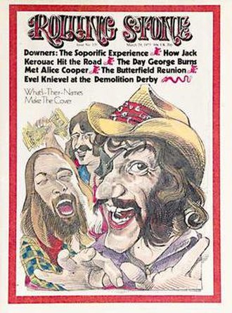 The Cover of Rolling Stone - From left to right: Dennis Locorriere, Billy Francis, and Ray Sawyer of Dr. Hook & the Medicine Show on the cover of Rolling Stone in caricature.