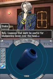 A screenshot of an Escape section room. The top screen shows a stylized illustration of a man with a blue jacket in front of two doors; a text box is also show, displaying his dialogue. The bottom screenshot shows a list of icons on the left, representing the items the player is carrying, and the currently selected item – a vase – rendered in 3D in the middle.