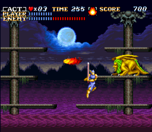 ActRaiser - One of the side-scrolling stages, showing a boss battle against the manticore in the town of Bloodpool