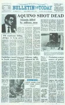 The Manila Bulletin headline, August 22, 1983.