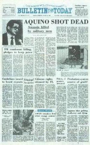 Manila Bulletin - Image: August 21, 1983 Aquino Shot Dead!