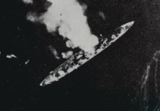 Battle of Cape Palos - The sinking of Baleares photographed from attacking Republican aircraft, 6 March 1938