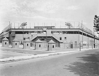 "Oriole Park - Exterior of the fifth old ""Oriole Park"" (originally ""Terrapin Park"", built 1914) at northwest corner of Greenmount Avenue and 29th Streets in 1938."