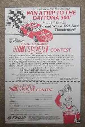 Bill Elliott's NASCAR Challenge - Photo of the contest entry form.