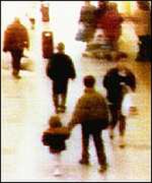 Murder of James Bulger - James Bulger being abducted by Thompson (above Bulger) and Venables (holding Bulger's hand) in an image recorded on shopping centre CCTV