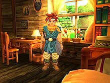 Horizontal rectangular video game screenshot that is a digital representation of a room in a house. A character with red spiked hair stands in the center of the image.