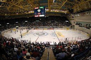 Columbus Civic Center - Panoramic view of a Columbus Cottonmouths hockey game