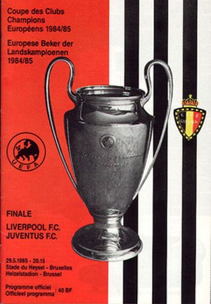 1985 European Cup Final - Match programme cover