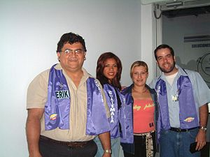 "El Familión Nestlé -  Four contestants from Guatemala prior to enter the stage of ""El Familión Nestlé"""