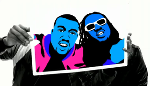 Good Life (Kanye West song) - The rotoscoped forms of Kanye West and T-Pain against a white backdrop.