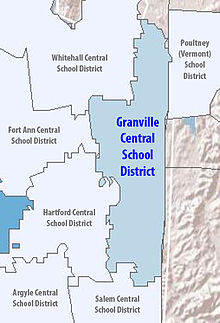 Map of Granville Central School District and surrounding districts in both New York and Vermont.
