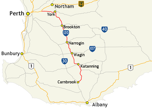 Great Southern Highway - Image: Great Southern Highway route map