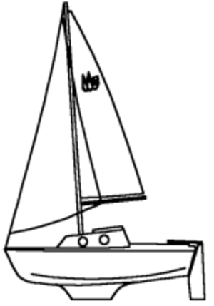 Pocket cruiser - Line drawing of Guppy 13 pocket cruiser.