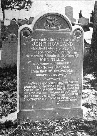 John Howland - Marker for John Howland on Burial Hill, Plymouth, Massachusetts