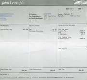 An example of a payslip from the John Lewis Partnership, showing gross salary, tax and National Insurance paid and yearly bonus entitlement, among other things