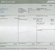 An example of a payslip from the John Lewis Partnership , showing ...