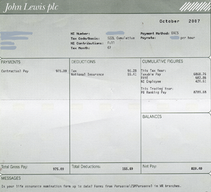 An example of a payslip from the John Lewis Pa...