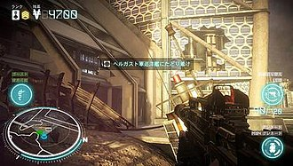Killzone: Mercenary - In-game screenshot of the single-player campaign mode, depicting the HUD layout.