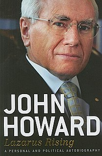 <i>Lazarus Rising: A Personal and Political Autobiography</i> book by John Howard
