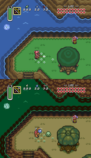 The Legend of Zelda: A Link to the Past - An area in the Light World (top), and the same found in the Dark World (bottom)