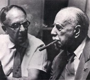 Victor Olof - Olof (left) with Sir Thomas Beecham at an HMV recording session