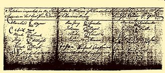 Bushong - The 1732 Oath of Allegiance signed by the pink John and William adult male immigrants.
