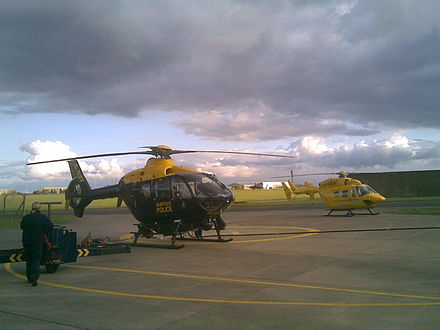 The Suffolk Police helicopter and the East Anglian Air Ambulance at Wattisham. Policewattisham1.jpg